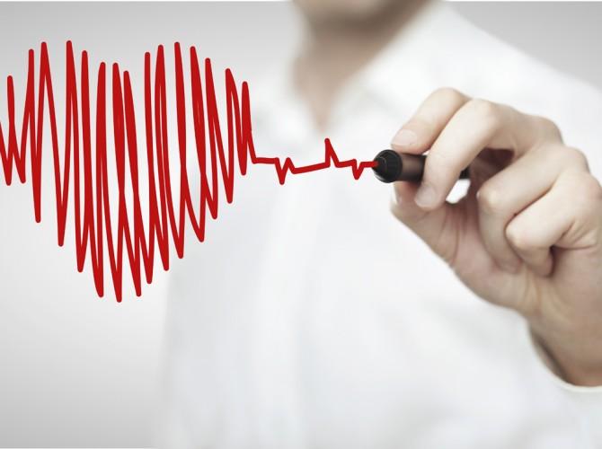 High resolution man drawing chart heartbeat